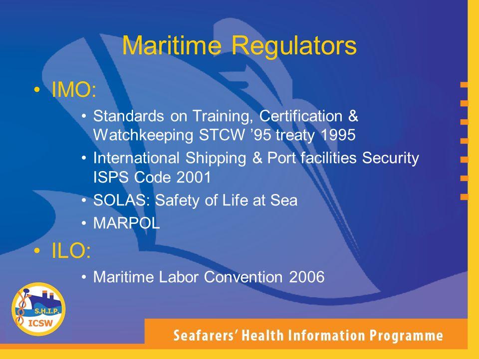 Maritime Regulators IMO: ILO: