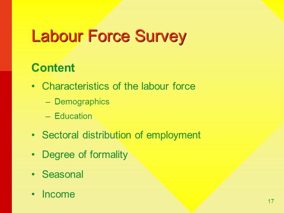 Labour Force Survey Content Characteristics of the labour force