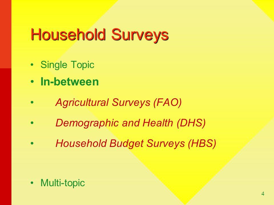 Household Surveys In-between Agricultural Surveys (FAO)