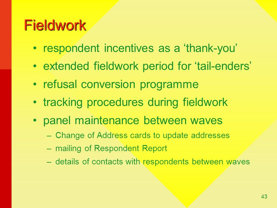 Fieldwork respondent incentives as a 'thank-you'
