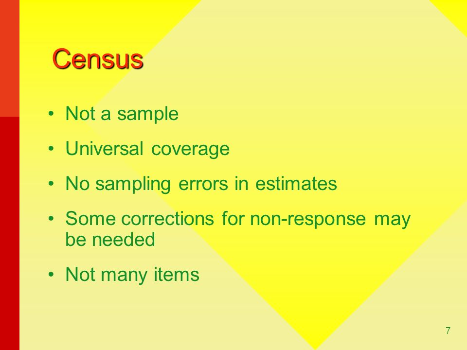 Census Not a sample Universal coverage No sampling errors in estimates