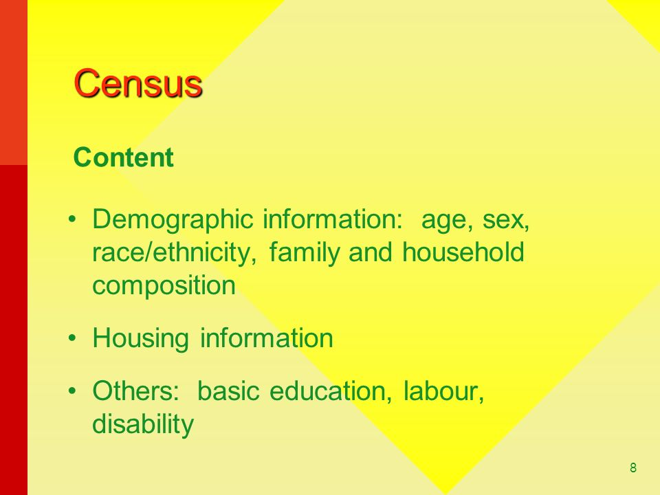 Census Content. Demographic information: age, sex, race/ethnicity, family and household composition.