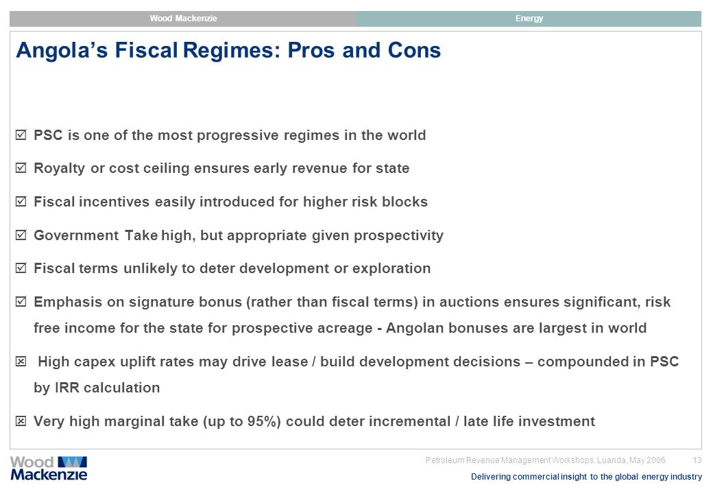 Angola's Fiscal Regimes: Pros and Cons