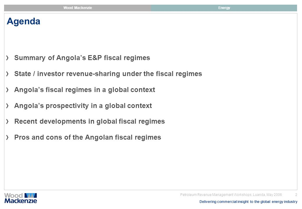 Agenda Summary of Angola's E&P fiscal regimes