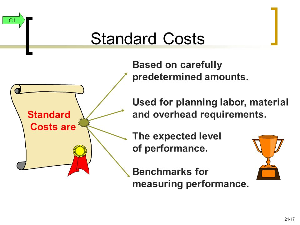 Standard Costs Based on carefully predetermined amounts.