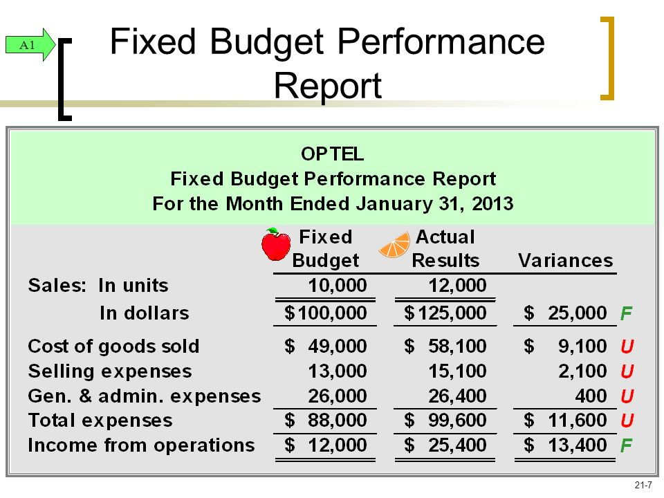 Fixed Budget Performance Report