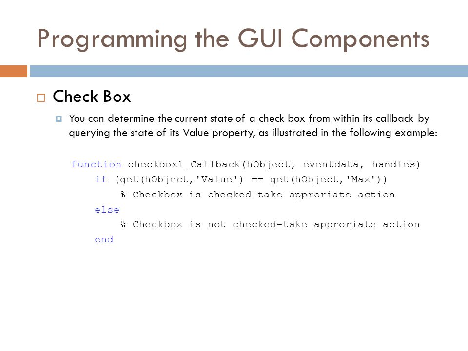 how to get a matlab checkbox to run its callback