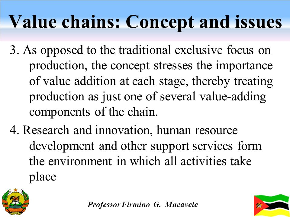 Value chains: Concept and issues