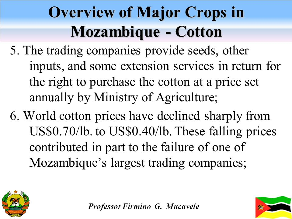 Overview of Major Crops in Mozambique - Cotton