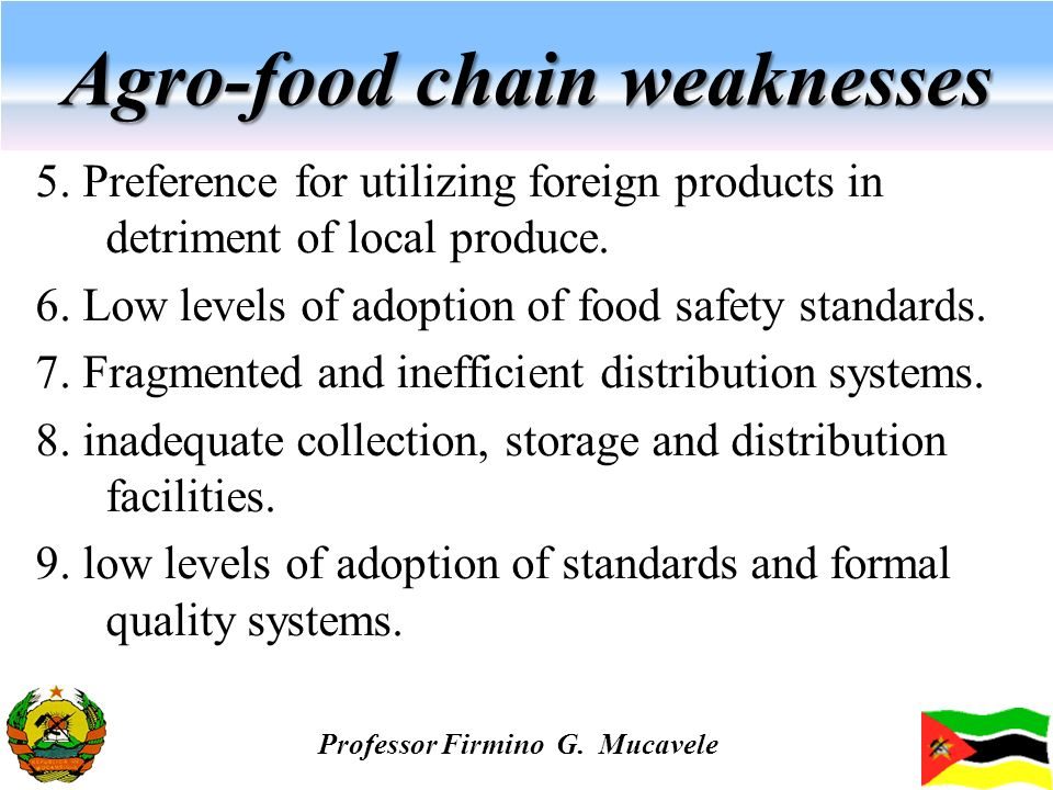 Agro-food chain weaknesses