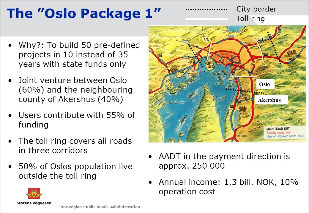 The Oslo Package 1 City border. Toll ring. Why : To build 50 pre-defined projects in 10 instead of 35 years with state funds only.