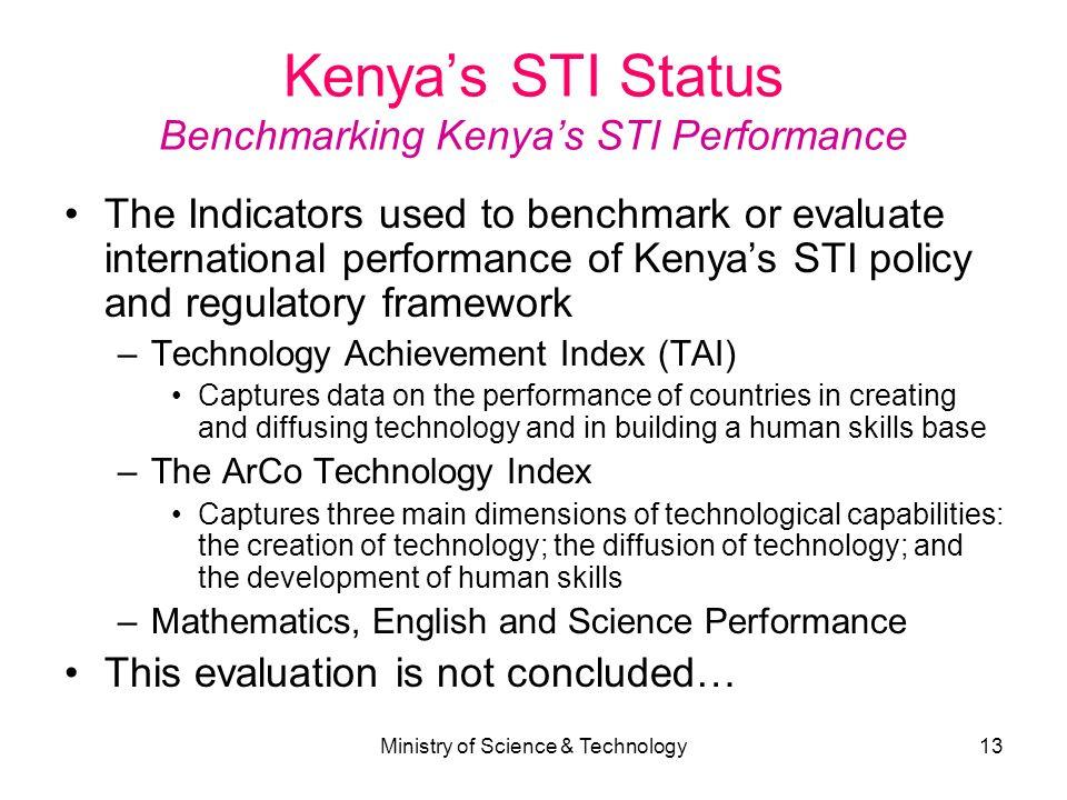 Kenya's STI Status Benchmarking Kenya's STI Performance