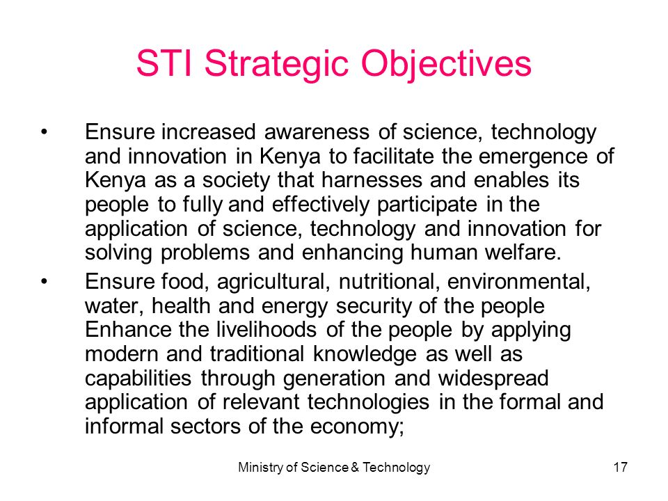 STI Strategic Objectives