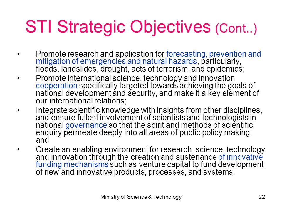 STI Strategic Objectives (Cont..)