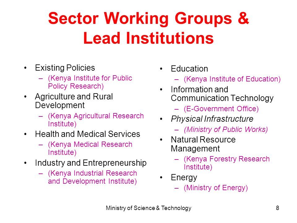 Sector Working Groups & Lead Institutions