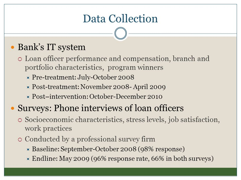 Data Collection Bank's IT system