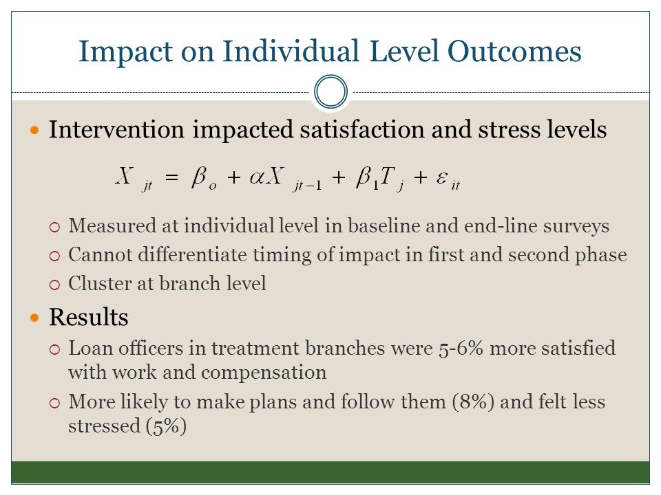 Impact on Individual Level Outcomes