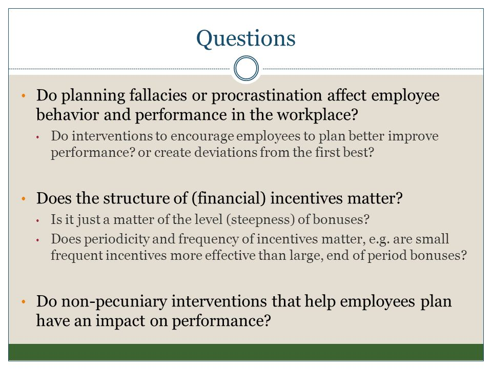 Questions Do planning fallacies or procrastination affect employee behavior and performance in the workplace