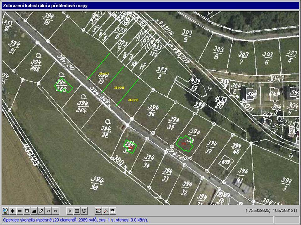 Mapové výstupy z DP ISKN – orientační mapa parcel – rastr+ ortofoto+ geometrické plány