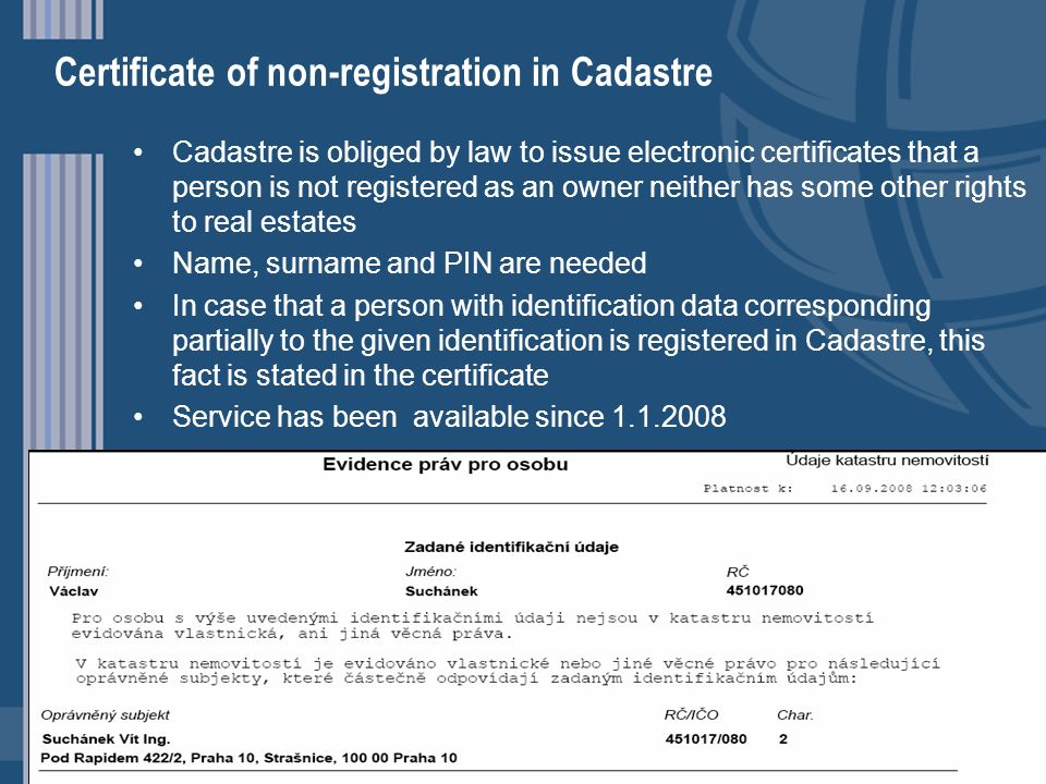 Certificate of non-registration in Cadastre