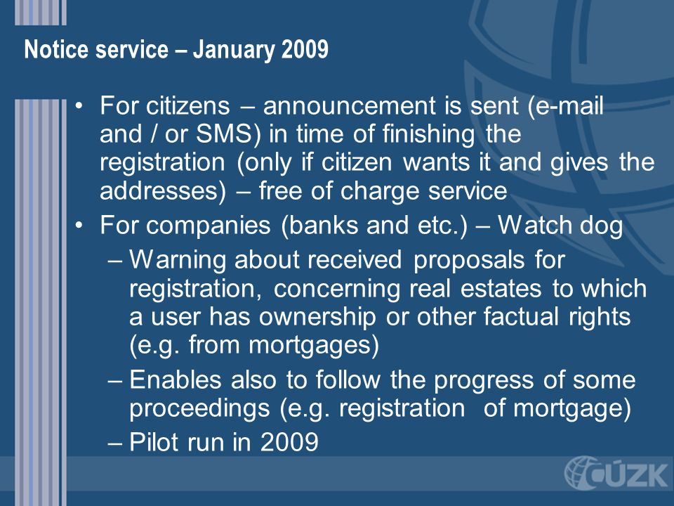 Notice service – January 2009