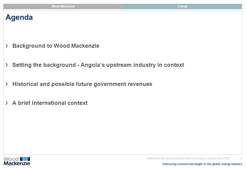 Agenda Background to Wood Mackenzie