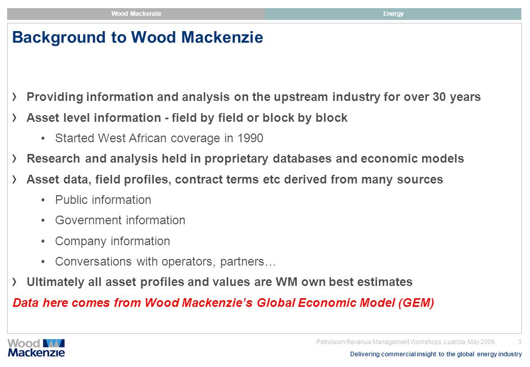 Background to Wood Mackenzie