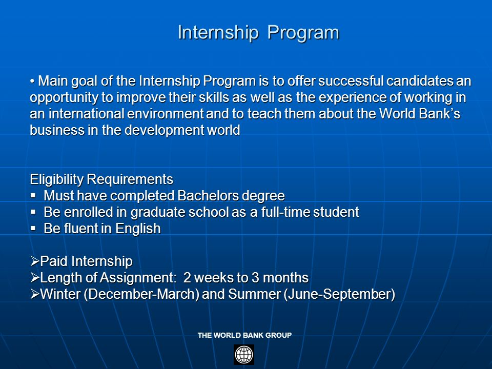 how to get an internship at the world bank