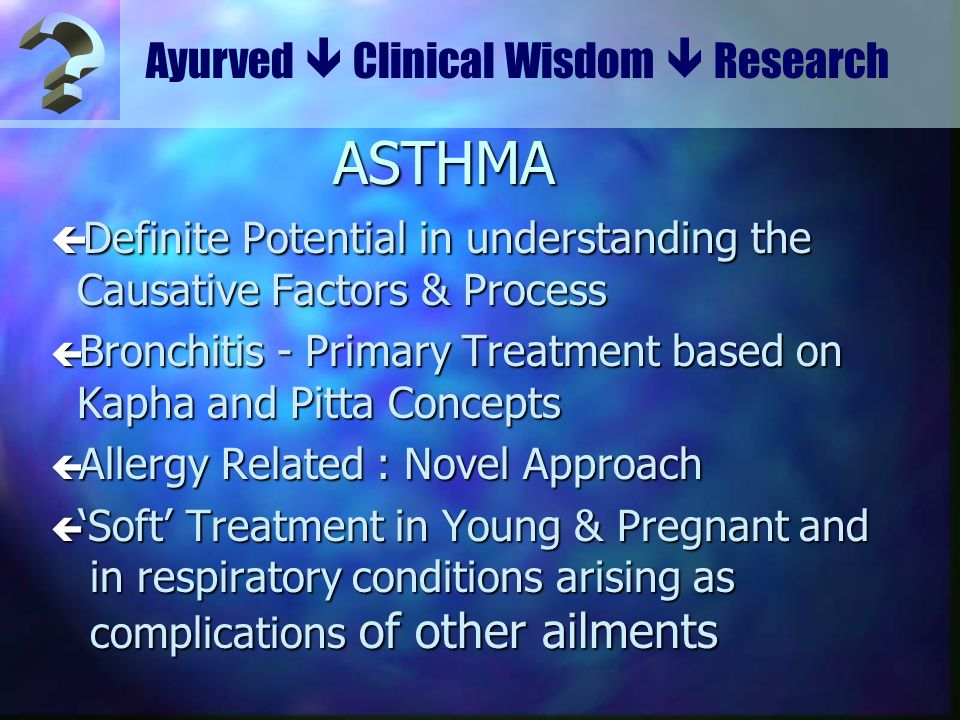 Ayurved  Clinical Wisdom  Research. ASTHMA. Definite Potential in understanding the Causative Factors & Process.