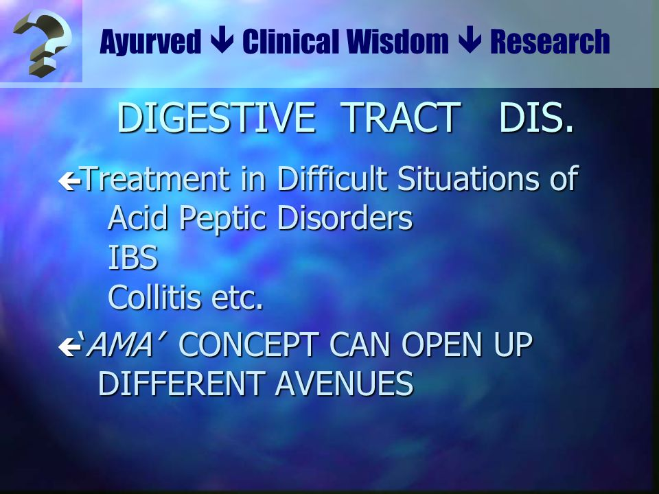 Ayurved  Clinical Wisdom  Research. DIGESTIVE TRACT DIS.