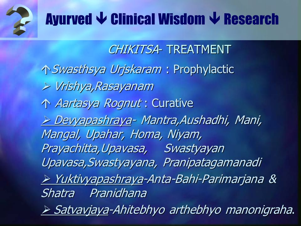 Ayurved  Clinical Wisdom  Research CHIKITSA- TREATMENT