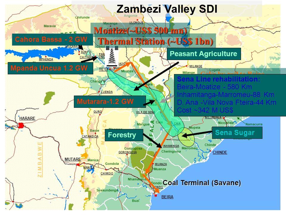 Zambezi Valley SDI Moatize(~US$ 500 mn) Thermal Station (~US$ 1bn)