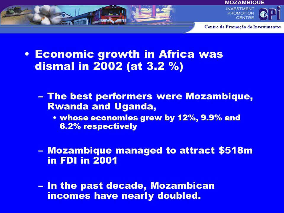 Economic growth in Africa was dismal in 2002 (at 3.2 %)