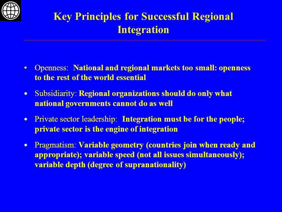 Key Principles for Successful Regional Integration