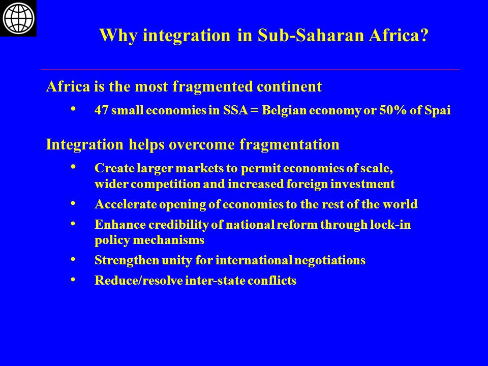 Why integration in Sub-Saharan Africa