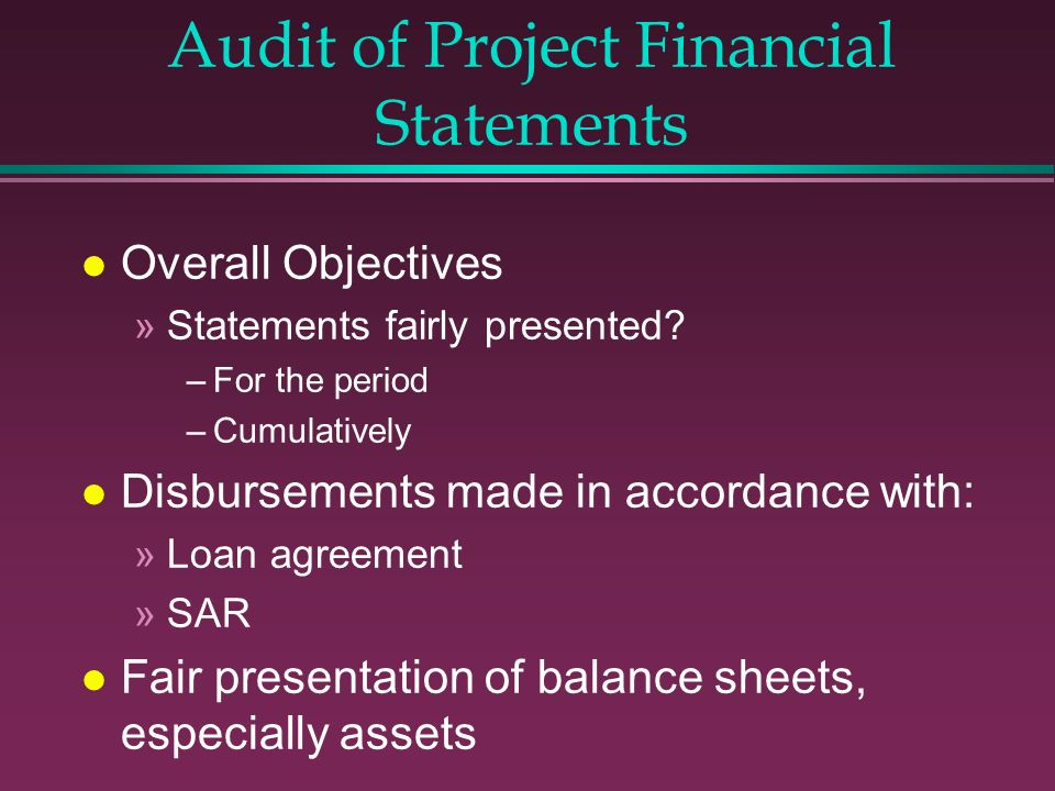 Audit of Project Financial Statements