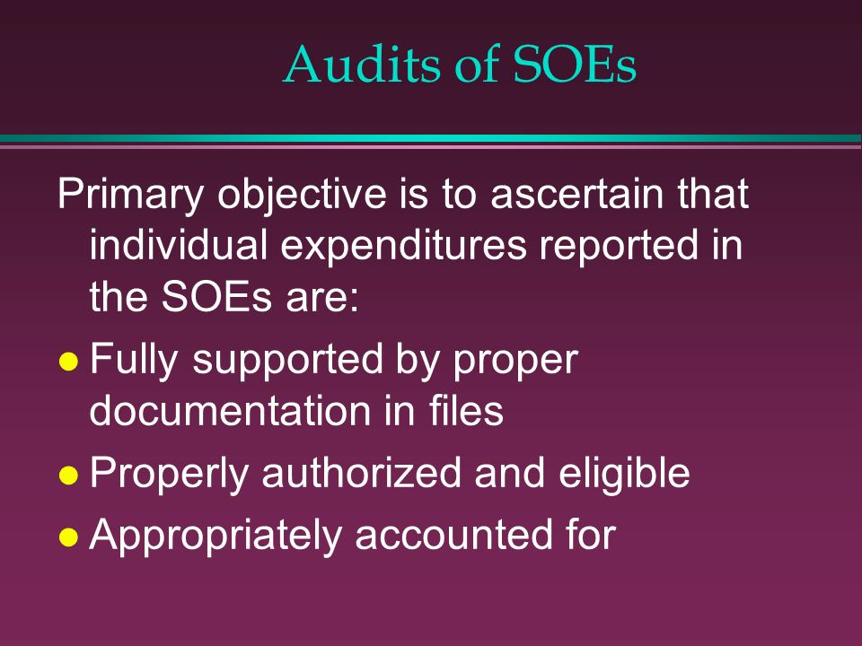 Audits of SOEs Primary objective is to ascertain that individual expenditures reported in the SOEs are: