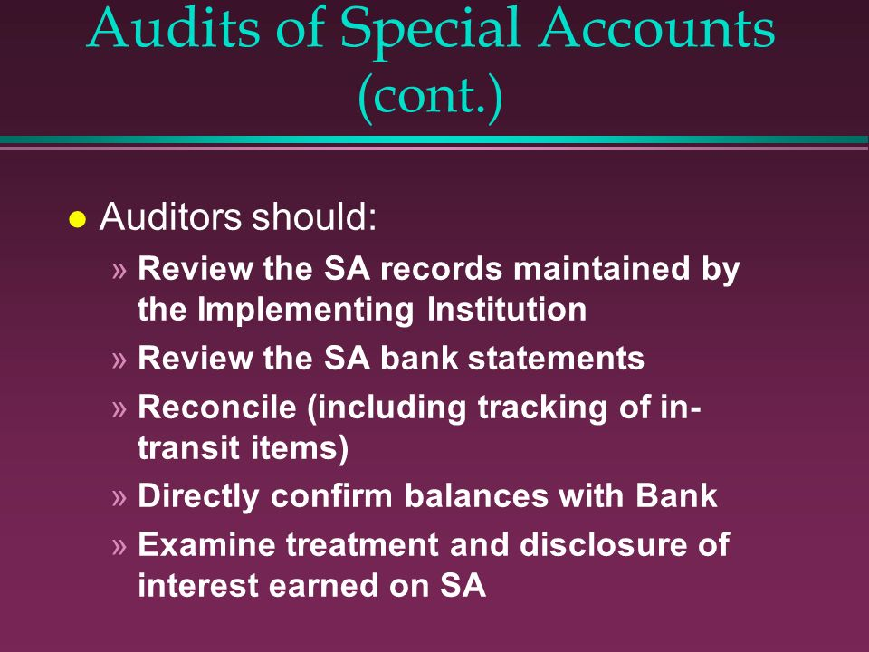 Audits of Special Accounts (cont.)