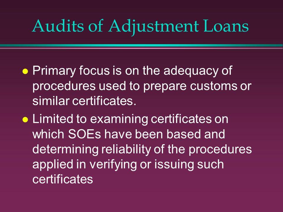 Audits of Adjustment Loans