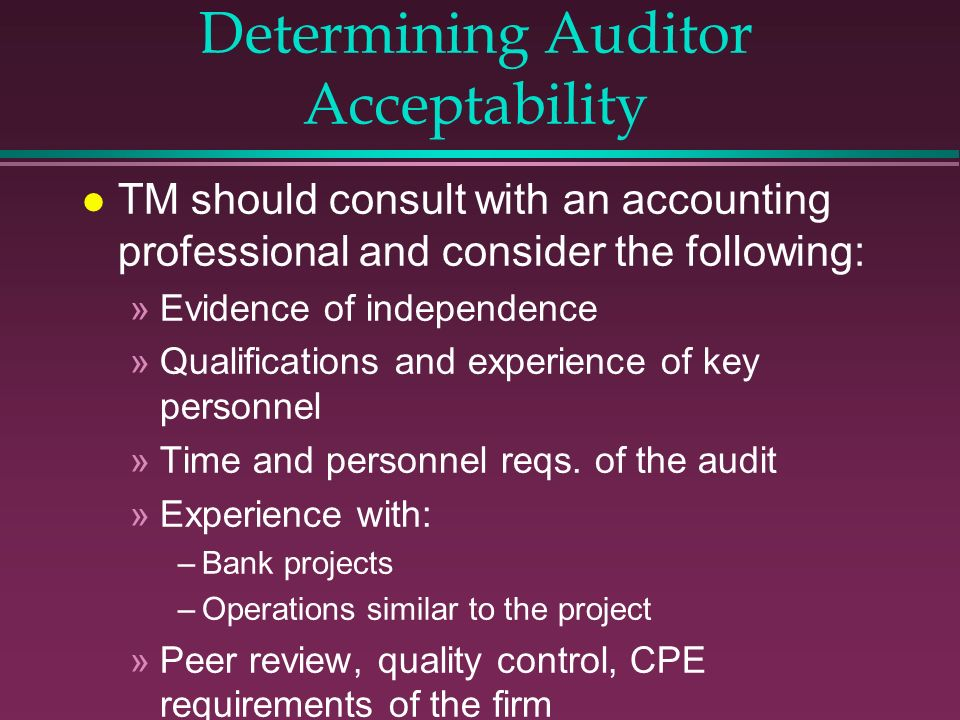 Determining Auditor Acceptability
