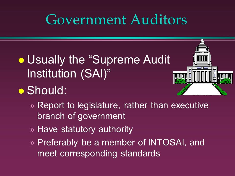 Government Auditors Usually the Supreme Audit Institution (SAI)