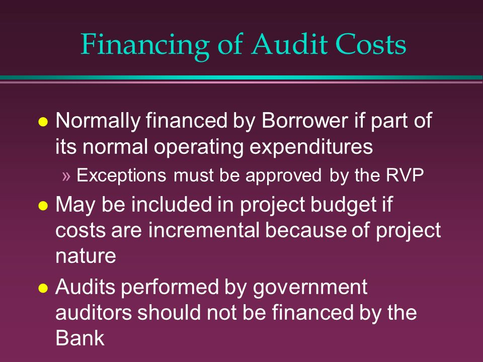 Financing of Audit Costs