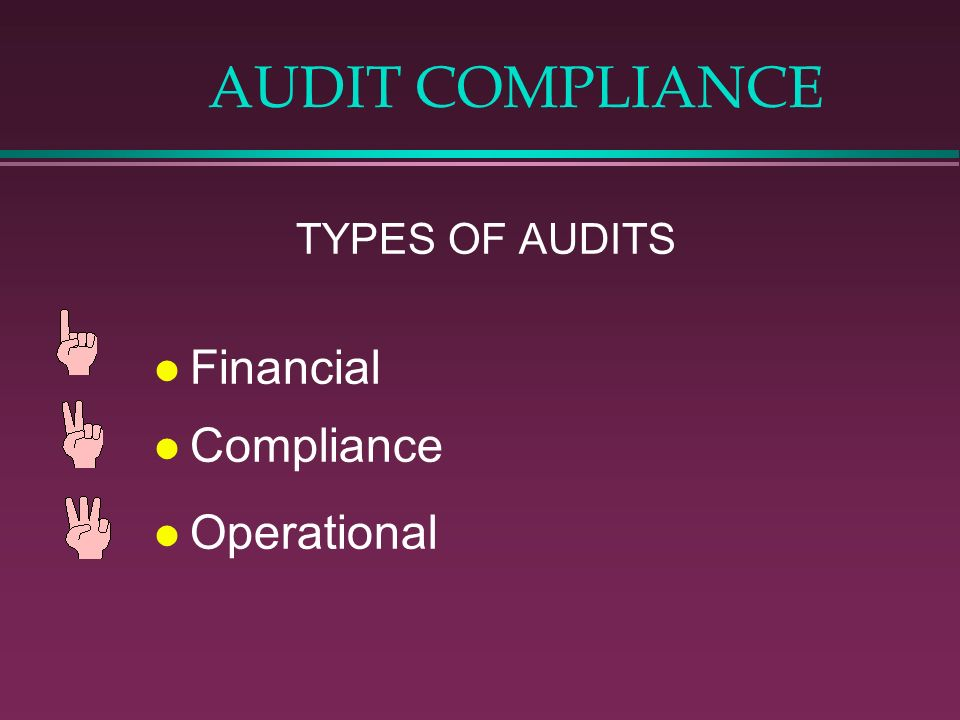 AUDIT COMPLIANCE TYPES OF AUDITS Financial Compliance Operational