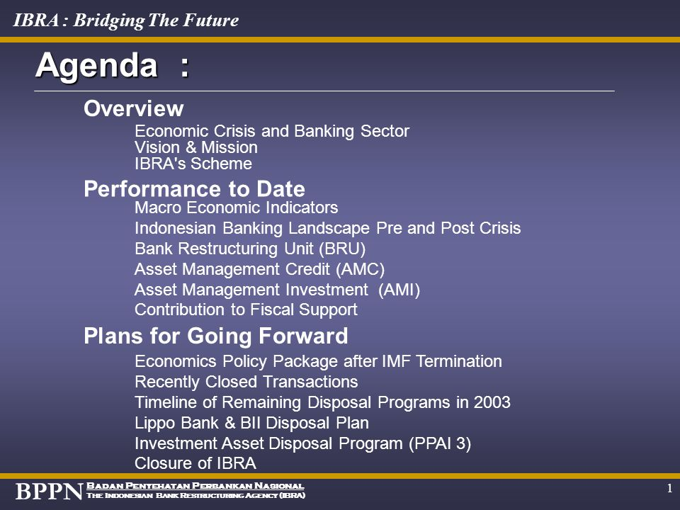 Agenda : Overview Performance to Date Plans for Going Forward