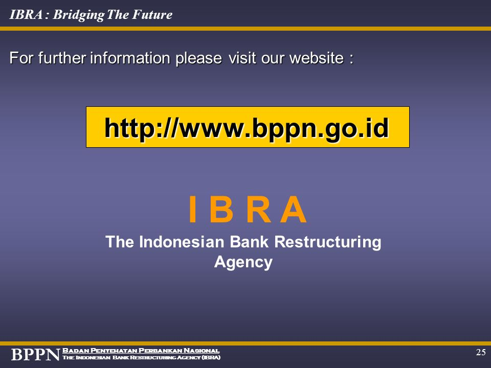 The Indonesian Bank Restructuring Agency