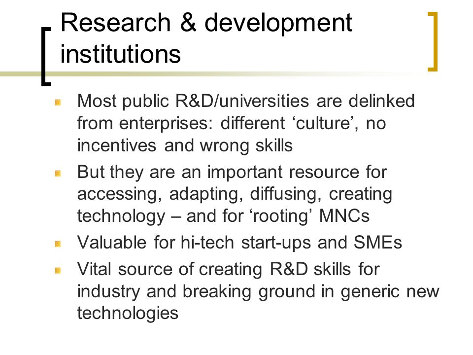 Research & development institutions
