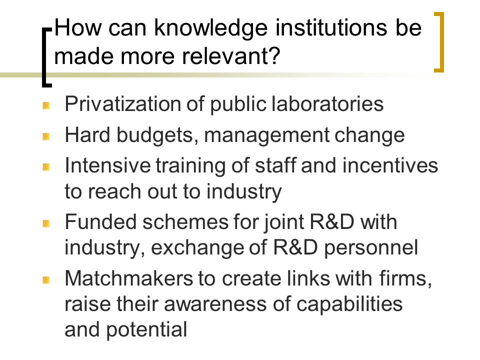 How can knowledge institutions be made more relevant