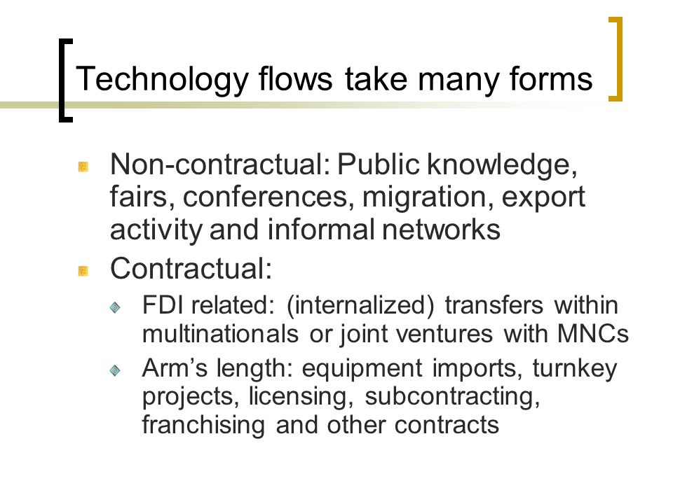 Technology flows take many forms