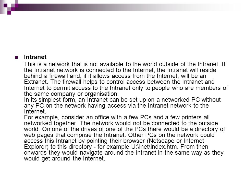 Difference Between Internet Intranet and Extranet Examples