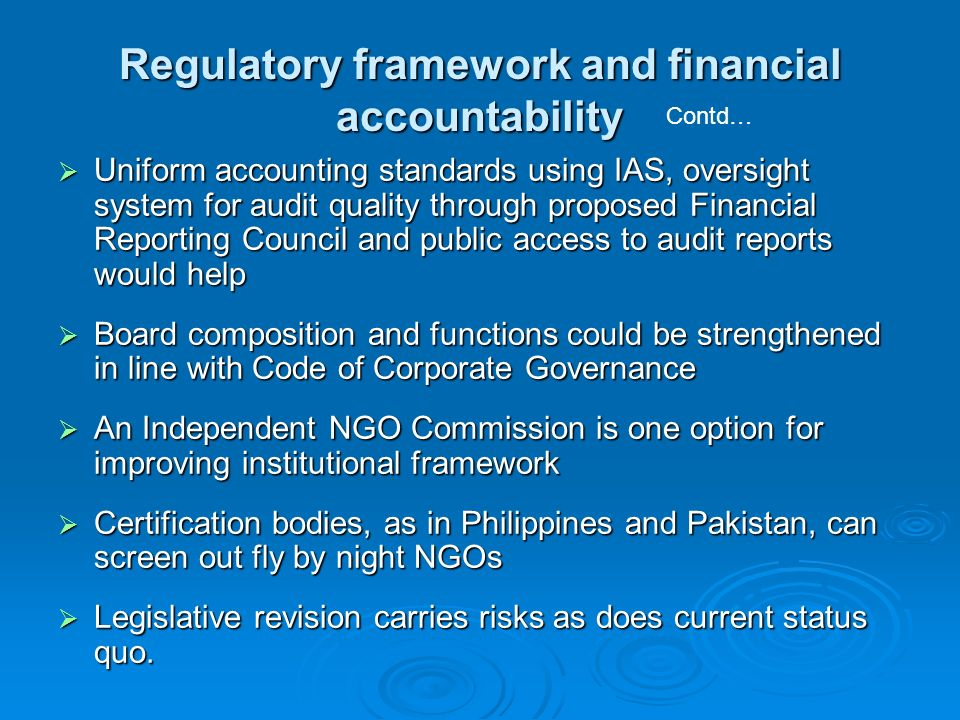 Regulatory framework and financial accountability